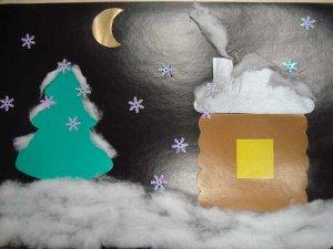 Аппликация из цветного картона Зимняя ночь Фото: 1 Просмотров: 1550...
