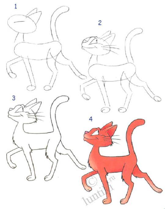 Давайте посмотрим, как нарисовать котёнка поэтапно.