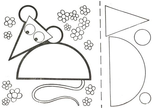 Аппликации из геометрических фигур Животные .